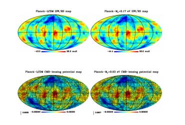 DEMNUni: ISW, Rees-Sciama, and weak-lensing in the presence of massive neutrinos
